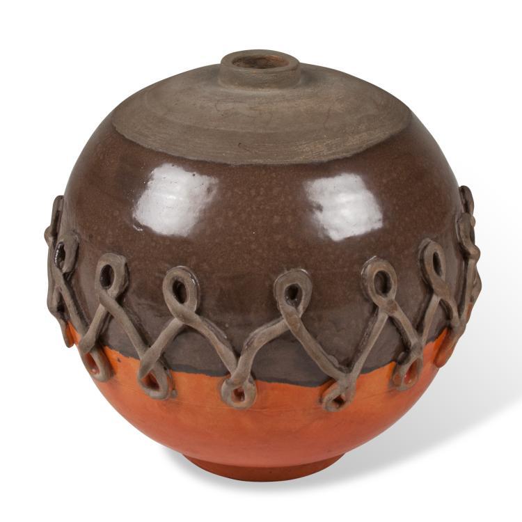 Spherical Ceramic Vase by Primavera, French 1930s