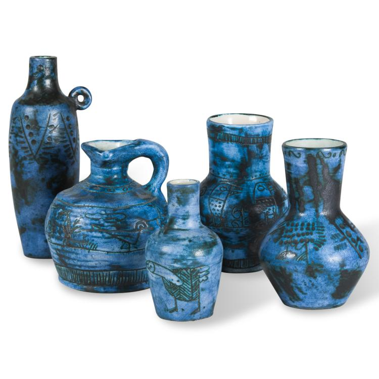 Five Blue Glazed Ceramic Pieces by Jacques Blin
