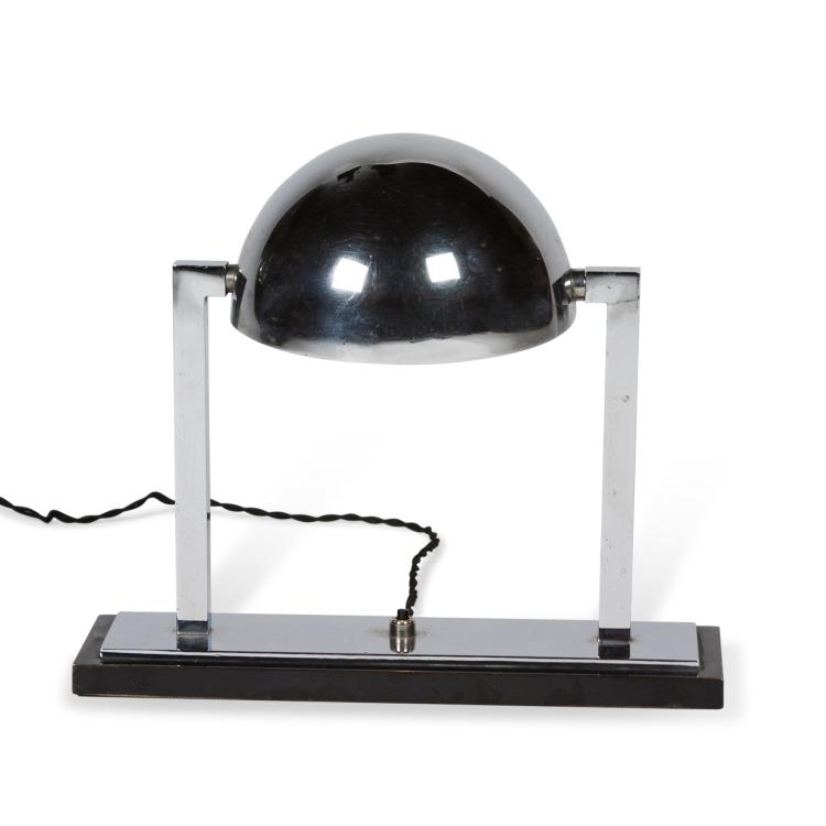 Chrome Desk Lamp by Jacques Adnet, French c. 1930