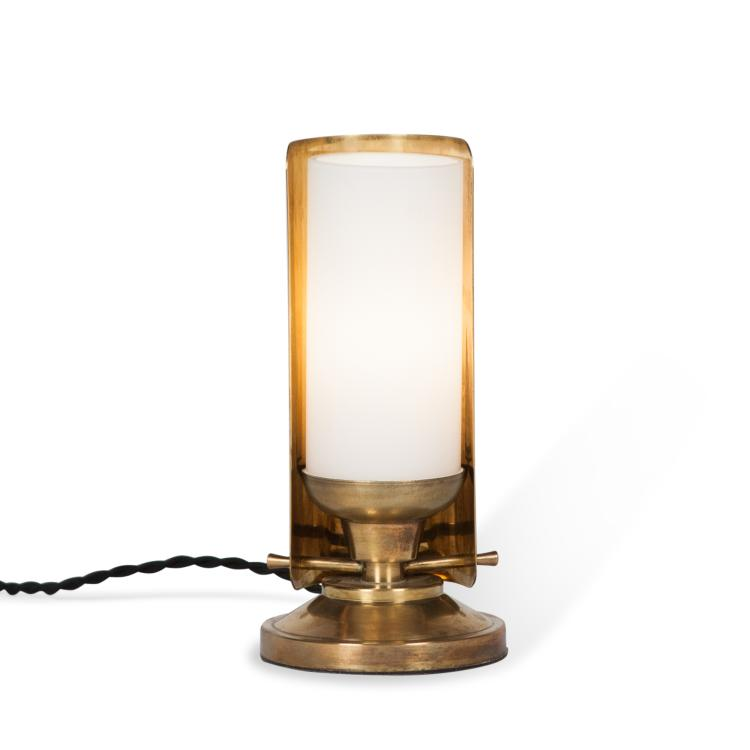 Brass and Frosted Glass Desk Lamp by Boris Lacroix, French c. 1930
