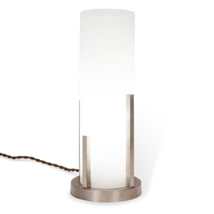 Cylindrical Frosted Glass Desk Lamp by Boris Lacroix French c. 1930