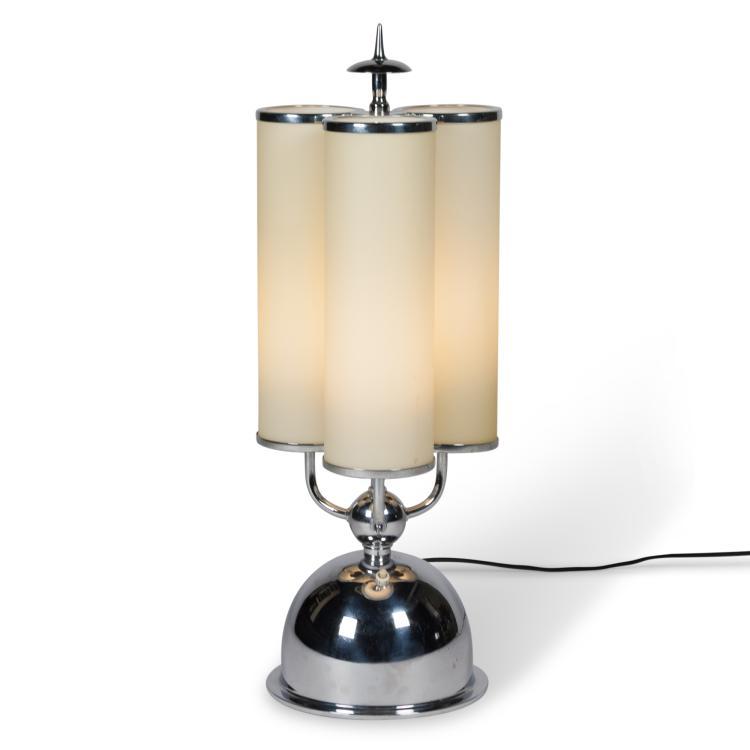 Glass Tube and Chrome Table Lamp by Fritz Breuhaus, German c. 1930