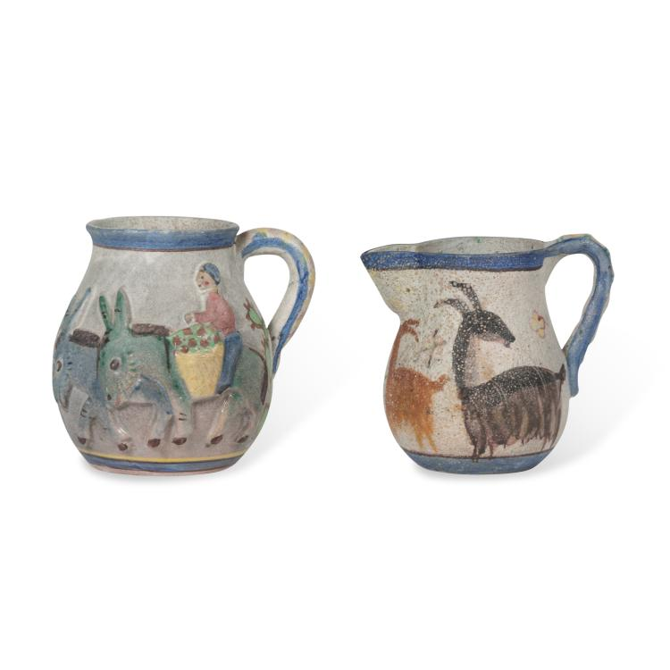 Two Hand Painted Ceramic Pitchers by Guido Gambone