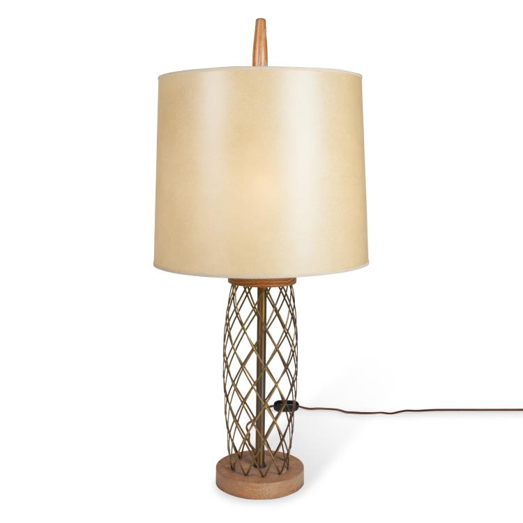Jean Royere Style Oak and Brass Table Lamp