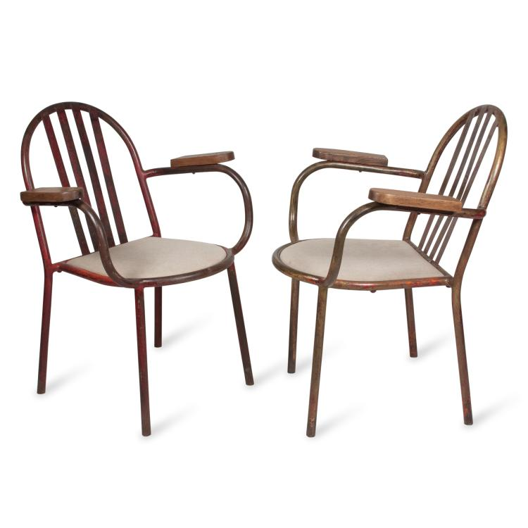Pair of Tubular Metal Frame Armchairs by Mallet-Stevens