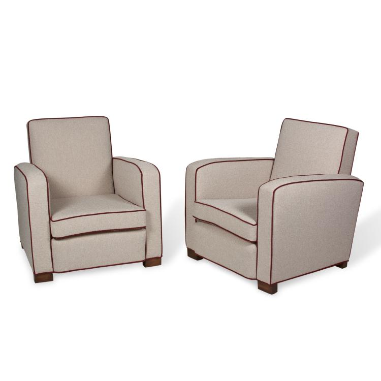 Pair of Club Chairs by Jacques Adnet, French 1930s