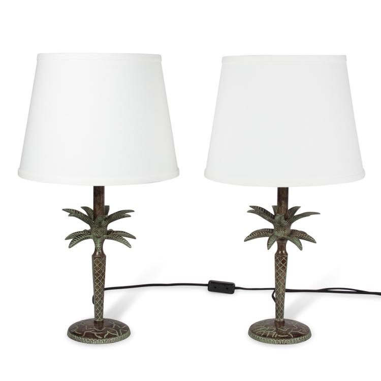 Pair of Bronze Palm Table Lamps, French 1990s