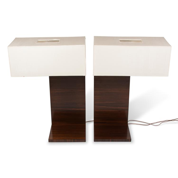 Pair of Macassar L-Shaped Table Lamps, American 1950s