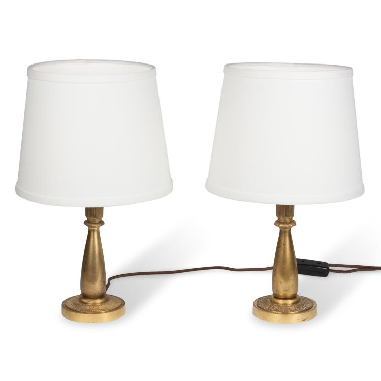 Pair of Bronze Table Lamps, French 1930s