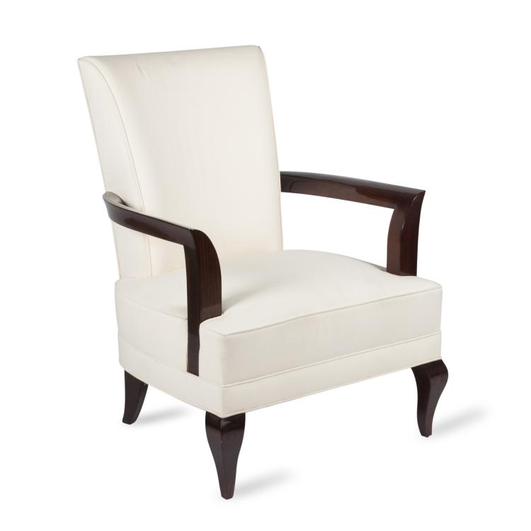 Pair of Pascaud Style Mahogany High Back Open Armchairs