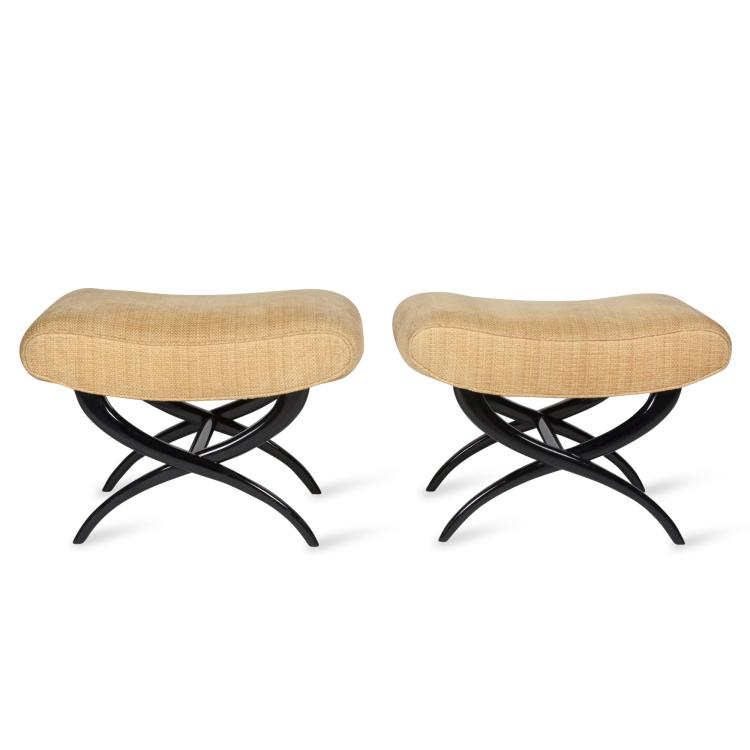 Pair of X-Legged Stools in the Style of Jean Royere