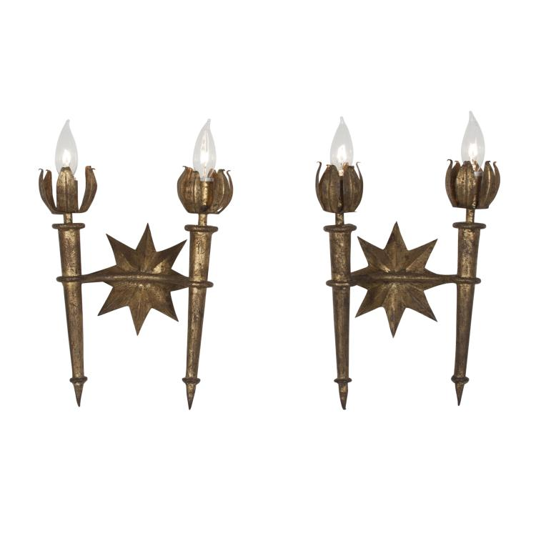 Pair of Poillerat Style Wall Sconces, French, 1940s