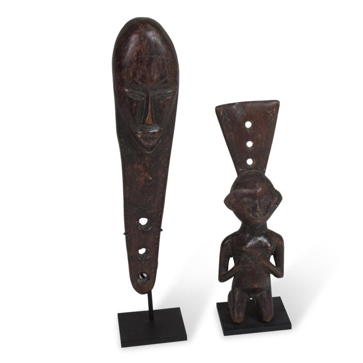 Two African Carved Sculptural Wooden Totems