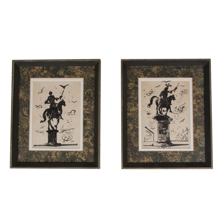 Two Ink on Paper Figural Drawings by Eugene Berman