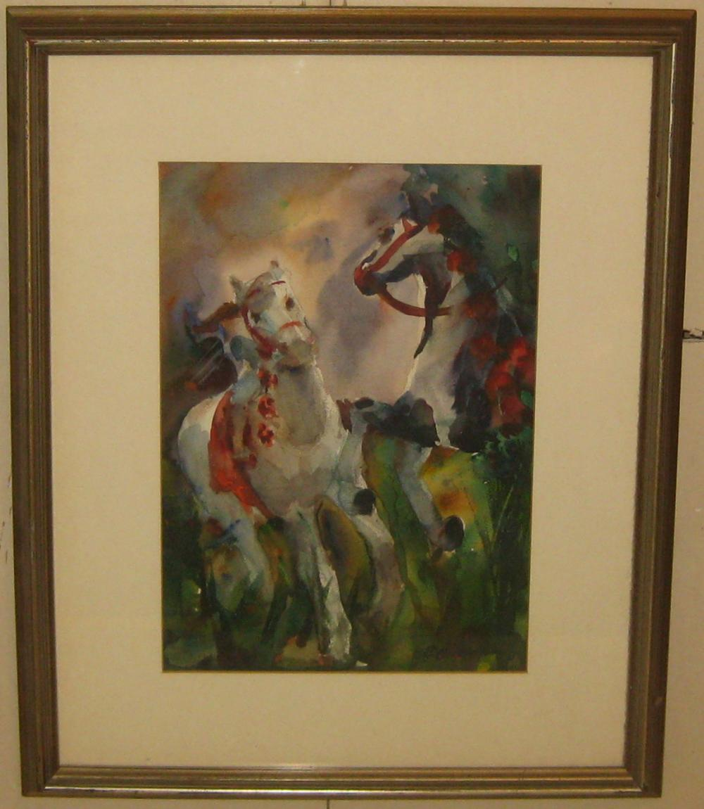 Sold Price Eleanor O Neill Harper Cavorting Carousel Horses Painting Invalid Date Edt
