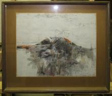 """ROBERT KNIPSCHILD """"Dark Hill"""" 1959 Abstract Gouache"""
