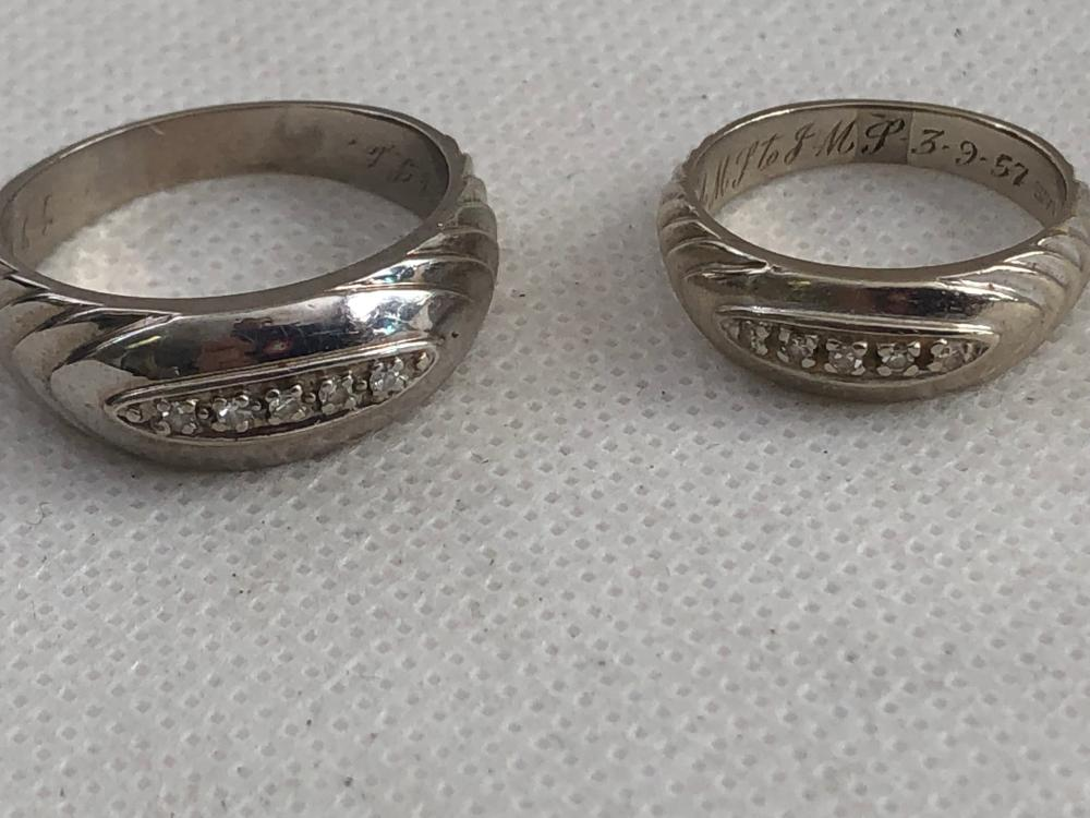 MID CENTURY LADIES AND MENS 10KT GOLD DIAMOND RINGS LOT 329