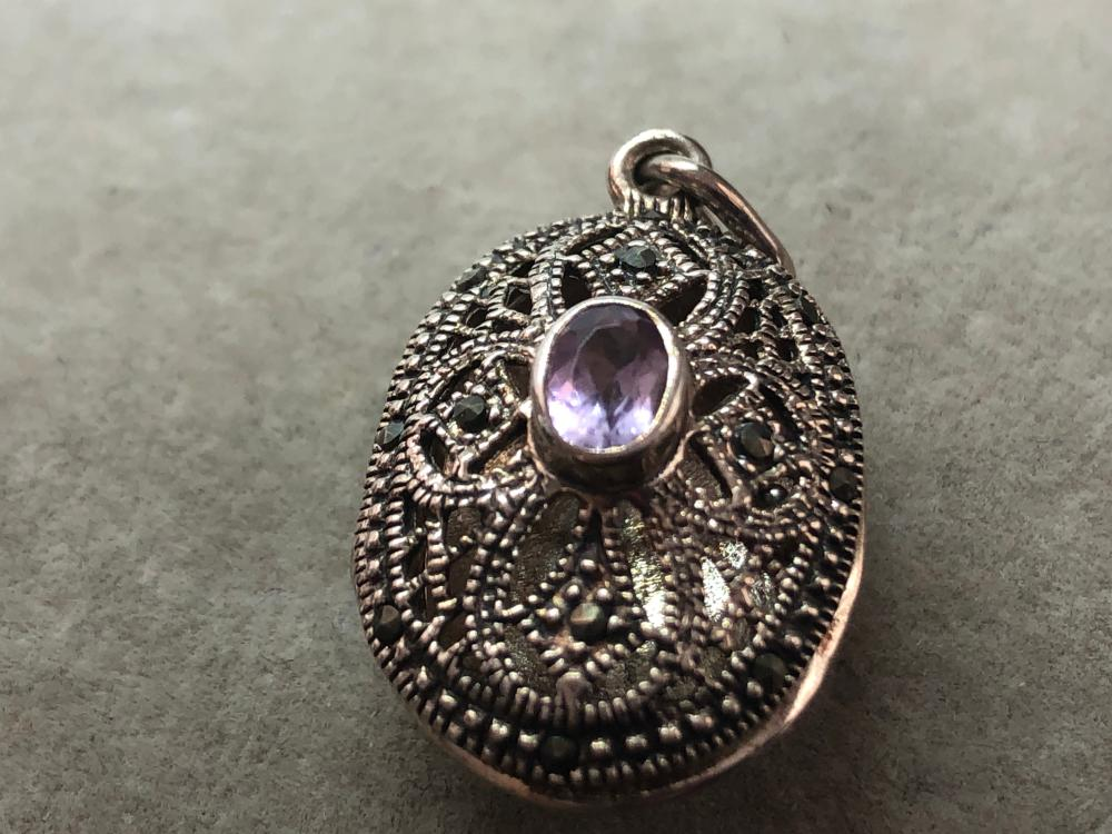 STERLING SILVER LOCKET WITH AMETHYST LOT 329