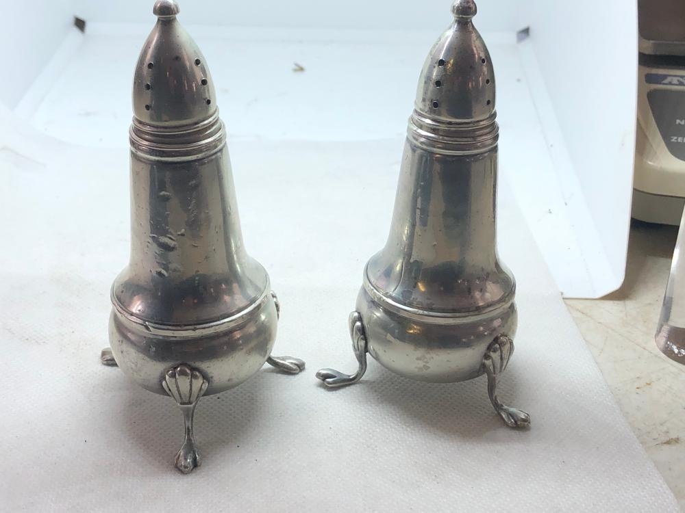 STERLING SILVER WEIGHTED SALT AND PEPPER SHAKERS LOT 215