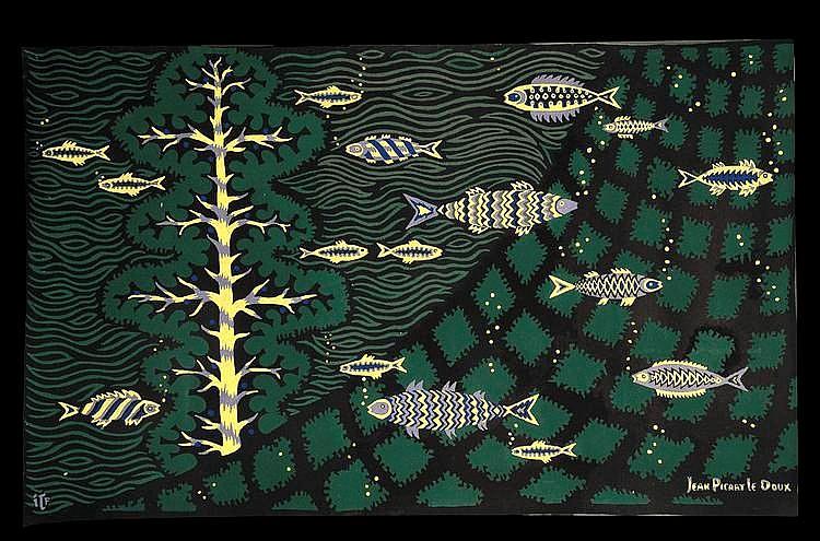 Jean Picart Ledoux (1902-1982) - Le filet  Tapisserie polychrome tissé par les Tentures d'Ile d