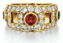 Carvin French, 18kt Yellow Gold, Ruby, Sapphire, Emerald and Diamond Band Ring