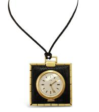 French, UTI, 18kt Yellow Gold and Leather Pendant Watch