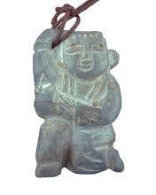 Chinese, Carved Grey Jade Figurine Pendant, H. 2
