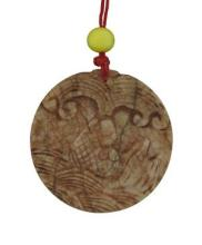 Chinese, Carved Brown Round Jade Fish Pendant, W. 2