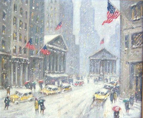 Guy Carleton Wiggins Oil On Canvas, The Financial District, 25