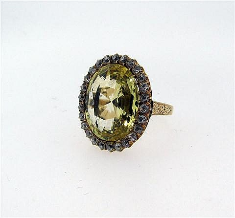 Antique, 14kt Yellow Gold, Yellow Sapphire and Diamond Lady's Ring