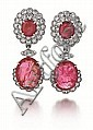 18kt White Gold, Ruby and Diamond Earrings, Pair