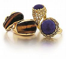 14kt Yellow Gold and Gemstone Lady's Rings, 4pc