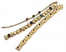 14kt Yellow Gold and Gemstone Cabochon Lady's Bracelets, 3pc