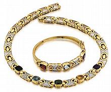 18kt Yellow Gold, White Gold Diamond, Garnet, Peridot, Amethyst and Quartz Lady's Necklace and Bracelet, 2 Pc.