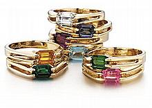 14kt Yellow Gold and Colored Simulant Lady's Rings, 8pc