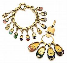 18-14kt Yellow Gold and Enamel Lady's Charms and Bracelet