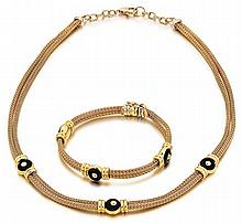18kt Yellow Gold and Onyx Lady's Necklace and Bracelet, 2pc