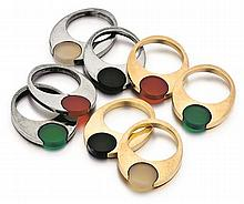Pierre Cardin, 14kt Yellow Gold, Sterling Silver and Gemstone Rings, 8pc