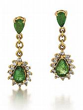 18kt Yellow Gold, Emerald and Diamond Lady's Earrings, Pair