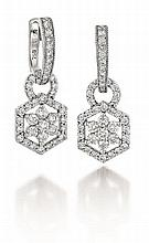 18kt White Gold and Diamond Lady's Earrings, Pair