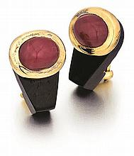 L'Oree Du Bois, 18kt Yellow Gold, Ruby, and Ebony Wood Earrings, Pair