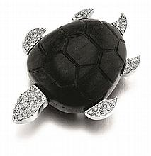 French, L'Oree Du Bois, 18kt White Gold, Diamonds, and Ebony Wood Turtle Pin/ Brooch