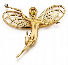 Van Cleef & Arpels, Citrine and Diamond Fairy Pin/Brooch