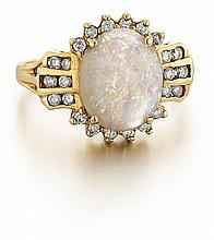 14kt Yellow Gold, Opal and Diamond Lady's Ring