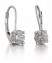 14kt White Gold and Diamond Lady's Earrings, Pair