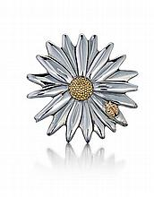 Tiffany & Co., 18Kt Yellow Gold and Sterling Silver Lady's Flower Pin