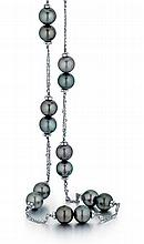 Doris Panos, 18kt White Gold and Tahitian Cultured Pearl Lady's Necklace