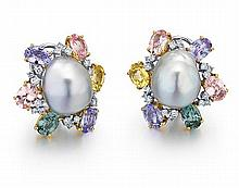18kt White Gold, Cultured South Sea Pearl, Multi-Color Sapphire and Diamond Lady's Earrings, Pair
