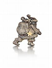 14kt Yellow Gold and Sterling Silver Santa Pin
