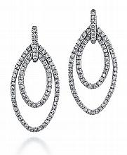 Platinum and Diamond Earrings, Pair